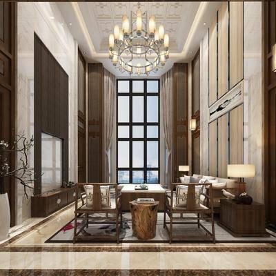 客厅, 沙发组合, 沙发茶几组合, 新中式, 中式, 台灯, 茶几, 边几, 单椅, 多人沙发