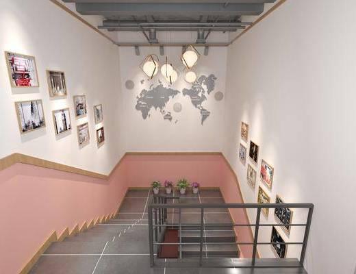 楼梯, 墙饰, 吊灯