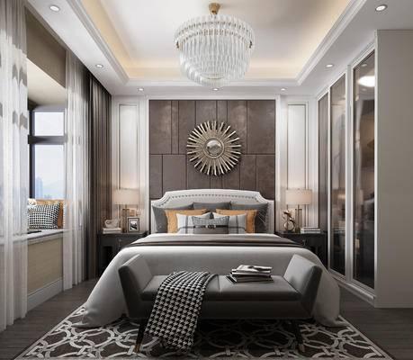 双人床, 墙饰, 吊灯, 衣柜, 床头柜, 台灯, 沙发组合, 茶几, 单椅, 电视柜, 背景墙