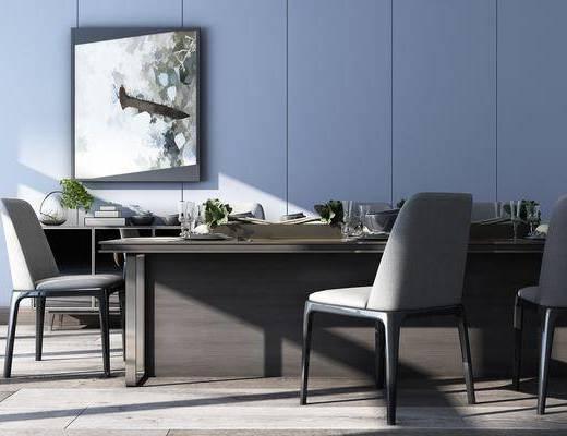 现代餐桌椅餐边柜, 现代, 餐桌, 椅子, 植物, 餐边柜