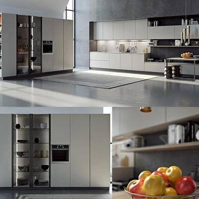 橱柜, 酒柜, 装饰架, 餐具, 厨具, 桌凳, 食物, 现代, 厨房