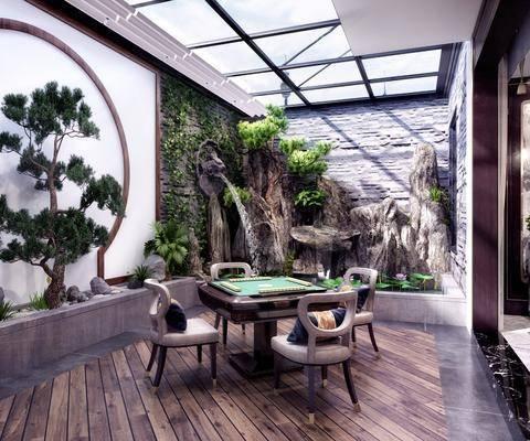 庭院阳台, 花园庭院, 麻将桌, 单人椅, 树木, 绿植植物, 假山景观, 新中式