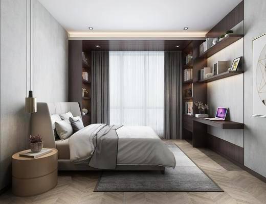 卧室, 床头柜, 吊灯, 装饰柜, 人物画, 装饰画, 挂画, 书籍, 摆件, 装饰品, 陈设品, 现代