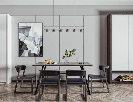 餐椅, 吊灯, 背景墙, 挂画, 装饰柜