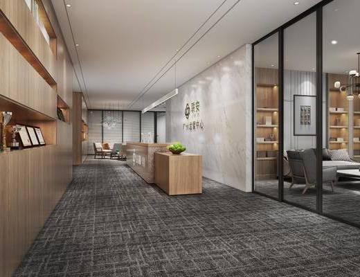 办公前台, 服务台, 奖杯, 沙发, 背景墙, 吊灯, 休闲椅, 现代