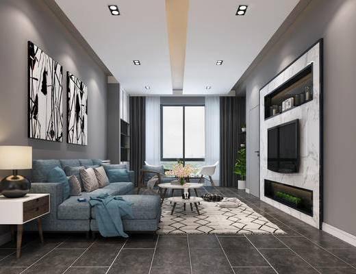 客厅, 北欧客厅, 北欧沙发, 沙发组合, 沙发茶几组合, 电视墙