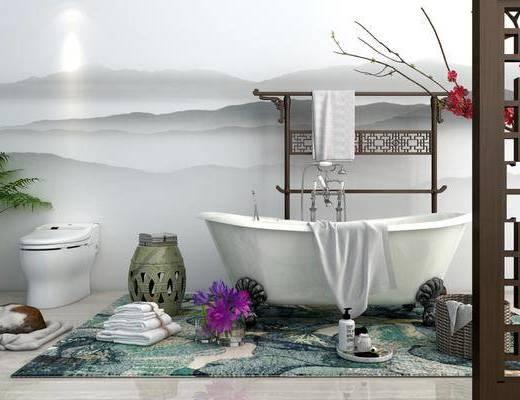 浴缸, 凳子, 马桶, 盆栽, 绿植植物, 花卉, 宠物猫, 花瓶花卉, 摆件, 装饰品, 陈设品, 卫生间, 新中式