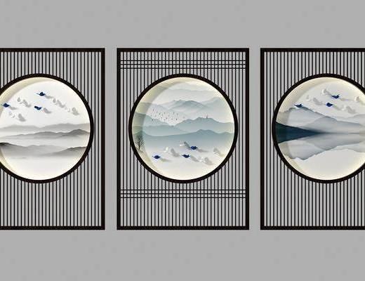 花格隔断, 隔断屏风, 背景墙, 新中式