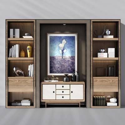 边柜, 置物柜, 装饰柜, 书柜, 装饰画, 陈设品