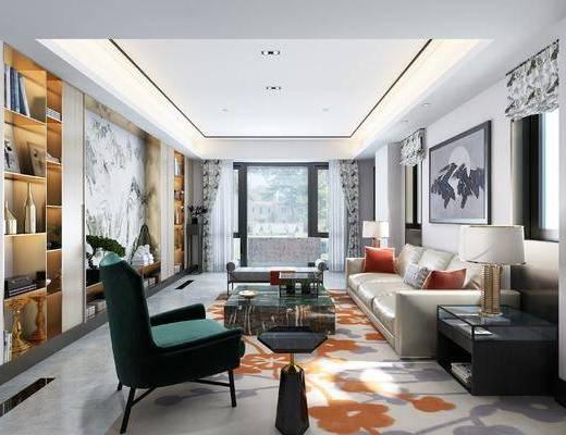 法式客厅, 沙发茶几组合, 书架, 椅子, 窗帘