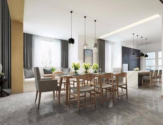 餐厅, 桌椅组合, 餐桌, 餐椅, 单人椅, 吊灯, 餐具, 吧台吧椅, 现代简约