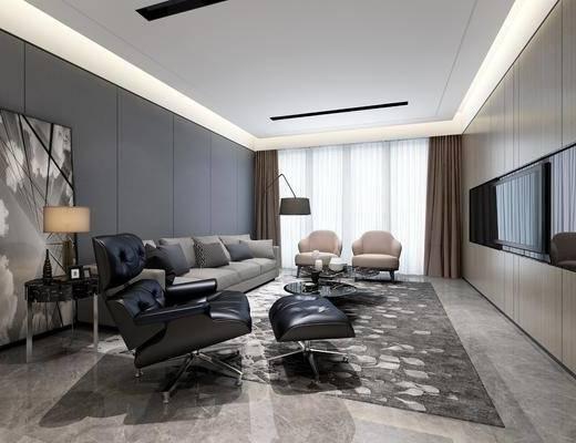 客厅, 餐厅, 多人沙发, 茶几, 边几, 台灯, 落地灯, 单人沙发, 凳子, 装饰画, 挂画, 现代