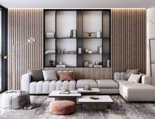 沙发组合, 茶几, 抱枕, 摆件组合, 落地灯, 背景墙