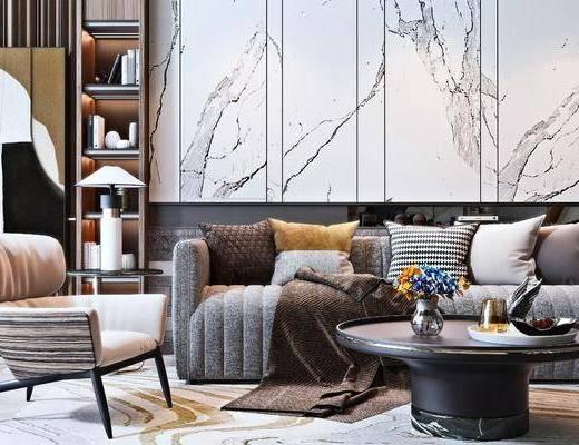 双人沙发, 沙发组合, 背景墙, 单椅, 置物柜, 茶几