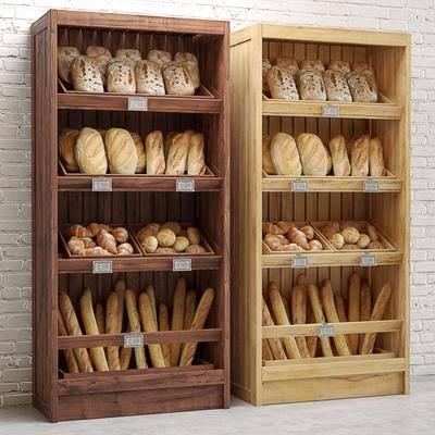 现代实木面包商展货柜, 现代, 食物, 面包, 货架