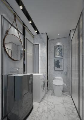 现代, 卫生间, 淋浴间, 洗手台, 洗衣机