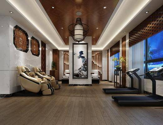SPA会所, 多人沙发, 健身器材, 装饰画, 挂画, 吊灯, 新中式