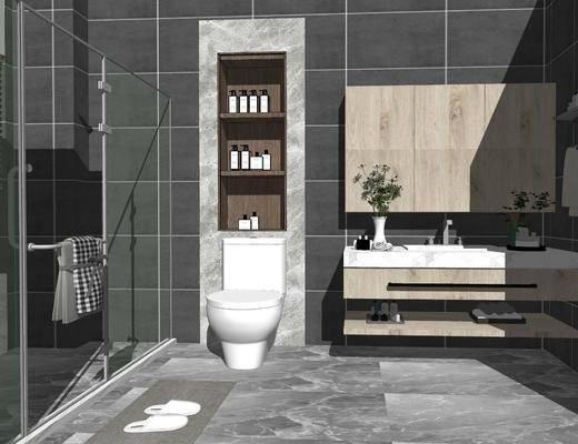卫浴, 洗浴组合, 马桶, 洗手盆, 浴柜