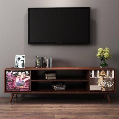 电视柜, 实木电视柜, 边柜组合, 花瓶组合, 书籍, 现代