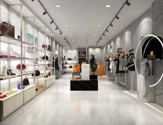 服装店, 装饰架, 前台, 衣架, 服饰, 鞋包, 射灯, 现代