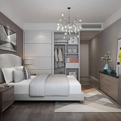 卧室, 北欧卧室, 现代卧室, 床, 床具组合, 边柜, 床头柜, 装饰画, 衣柜