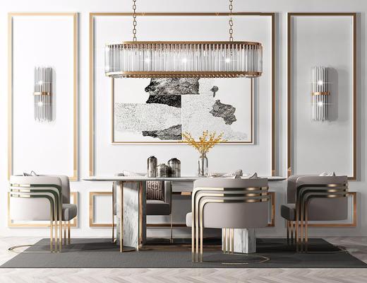 现代简约, 桌椅组合, 吊灯, 陈设品组合