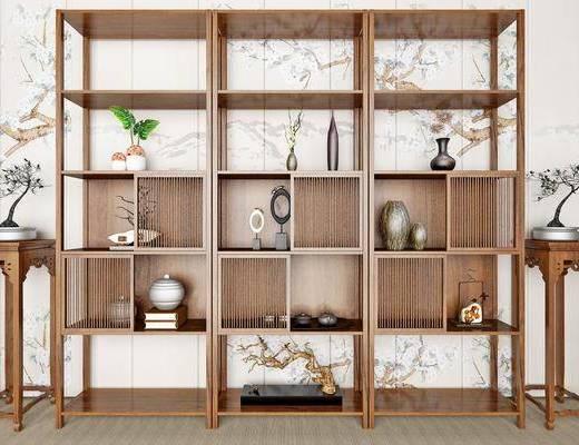 新中式书柜, 置物架, 摆件