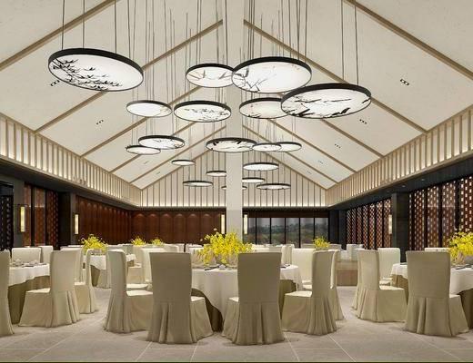 宴会厅, 单人椅, 餐桌, 吊灯, 壁灯, 装饰品, 陈设品, 新中式