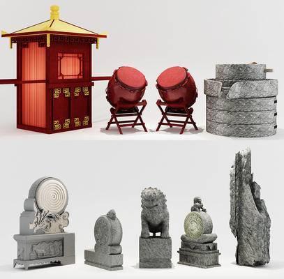 花桥, 锣鼓, 石磨, 石狮, 中式