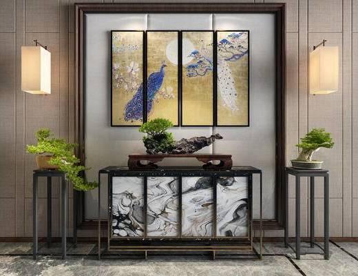 端景台, 摆件组合, 壁灯, 装饰品