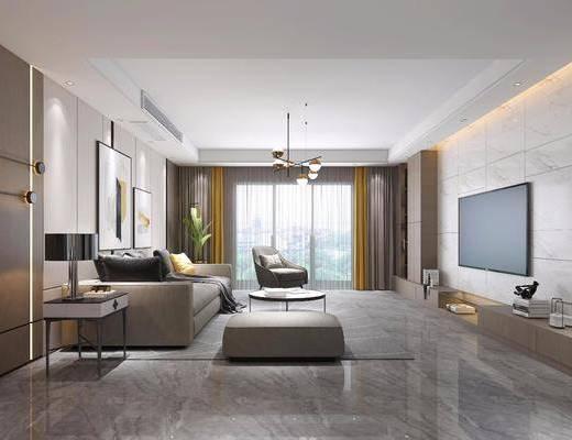 沙发组合, 吊灯, 电视柜, 墙饰, 茶几, 摆件组合