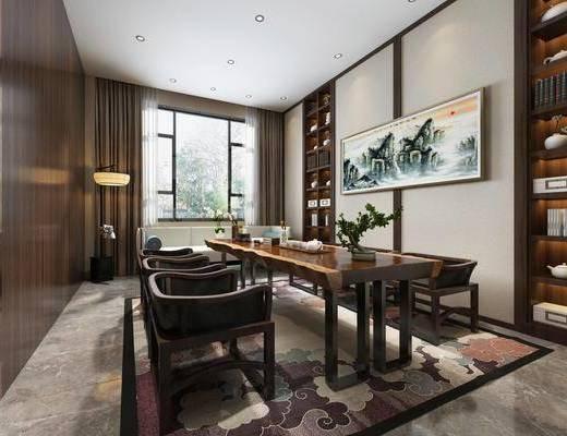 茶室, 新中式茶室, 书桌, 茶具, 书柜, 书籍, 摆件组合, 单椅, 落地灯, 新中式