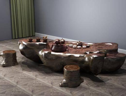 新中式茶桌, 茶桌, 茶桌椅
