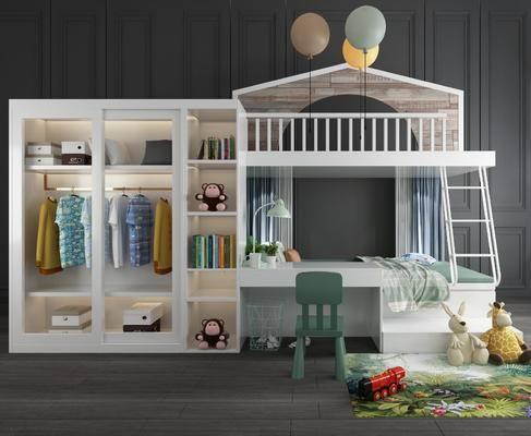 上下床, 衣柜, 服饰, 桌椅玩具, 摆件组合, 玩偶, 玩具, 衣架, 双层床, 现代