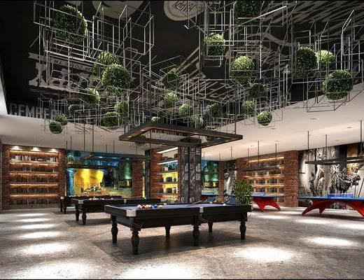 娱乐室, 台球室, 工业风台球室, 台球桌, 置物架, 植物, 绿植, 工业风