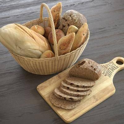 切菜板, 面包, 篮子, 欧式