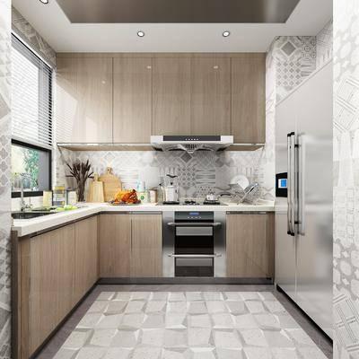 北歐廚房, 現代廚房, 櫥柜, 廚柜, 冰箱