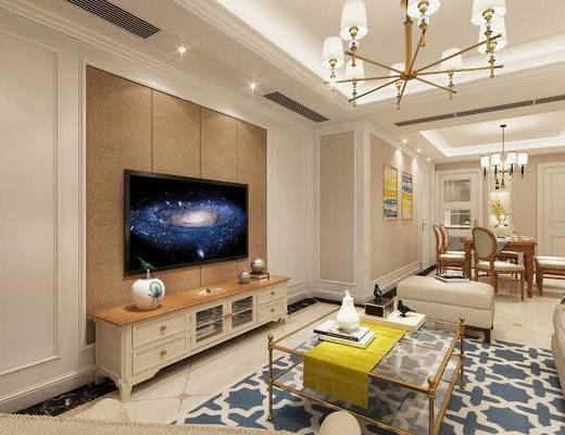 美式, 挂画, 沙发组合, 茶几, 灯具, 餐桌椅, 客厅, 餐厅