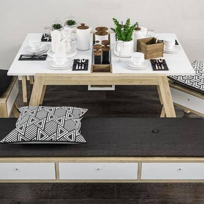 餐桌, 餐椅, 单人椅, 装饰品, 陈设品, 北欧