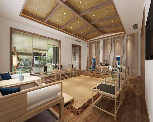 新中式, 会客厅, 椅子, 桌子, 盘栽