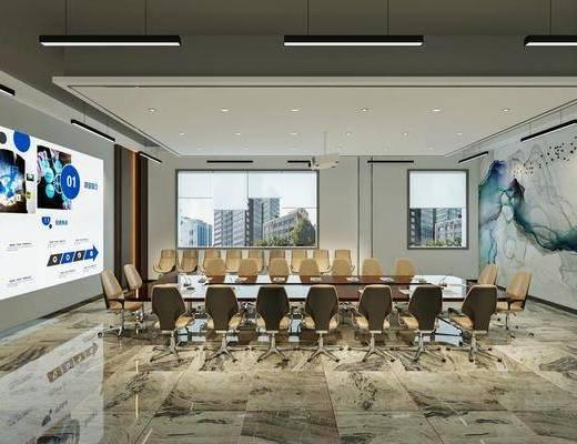会议室, 会议桌, 单椅, 屏幕, 背景墙