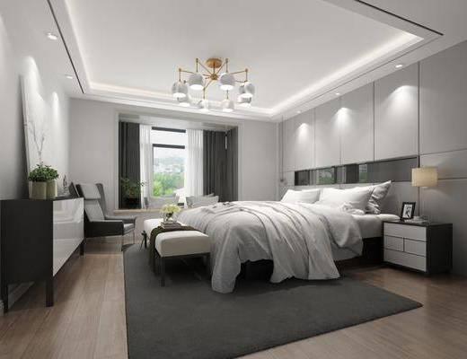 卧室, 双人床, 床尾凳, 吊灯, 床头柜, 电视柜, 装饰柜, 边柜, 单人沙发, 北欧