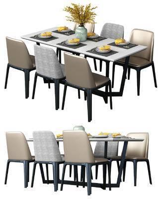现代, 椅子, 单椅, 桌子, 餐桌椅, 桌椅组合