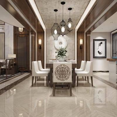 中式餐厅, 中式, 餐厅, 吊灯, 餐桌椅, 沙发, 壁灯