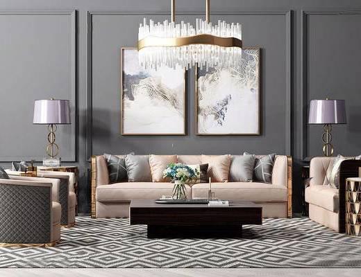 沙发茶几组合, 挂画, 吊灯, 简欧, 下得乐3888套模型合辑