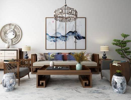 沙发组合, 沙发茶几组合, 中式, 新中式, 挂画, 装饰画, 吊灯, 边柜, 陈设品