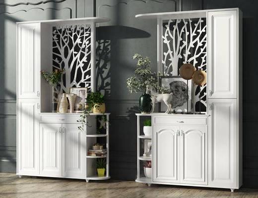 鞋柜, 北欧鞋柜组合, 摆件, 装饰品, 植物, 盆栽, 简欧