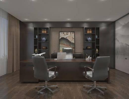 办公室, 办公桌, 办公椅, 单人椅, 边柜, 装饰柜, 装饰画, 挂画, 摆件, 装饰品, 陈设品, 新中式