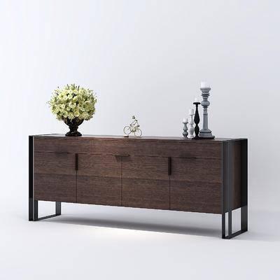 边柜, 花瓶花卉, 饰品模型, 餐边柜, 现代
