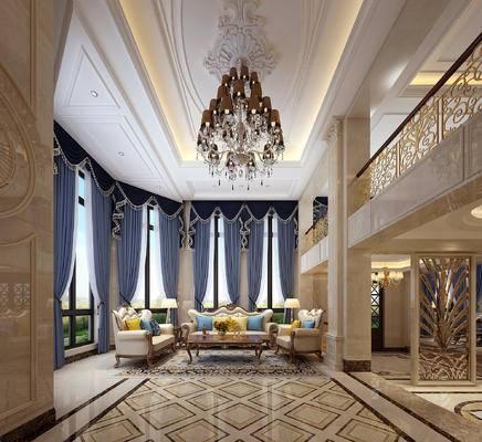 吊灯, 沙发组合, 罗马柱, 地毯